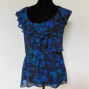 Express Black and Blue Floral Sheer Top